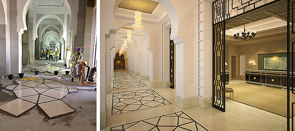 Four Seasons Resort Dubai at Jumeirah Beach - interior design by BAMO - arches and floor pattern